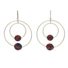Aztec Silk Gold Double Hoop Earrings by Dorus Mhor