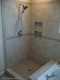 Tile Ideas for my bathroom Master Shower Tile, Shower Tub, Shower Stalls, Shower Niche, Shower Tile Patterns, Shower Tile Designs, Shower Fixtures, New Bathroom Ideas, Bath Tiles