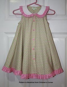 Best 12 Children's Corner Madeline. Fabric from Fabric Finders Frocks For Girls, Kids Frocks, Dresses Kids Girl, Little Girl Dresses, Kids Outfits, Frock Design, Baby Dress Design, Little Girl Fashion, Kids Fashion