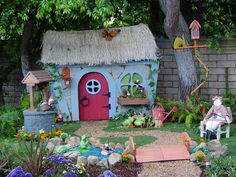 "Kid's Storybook Themed Backyard Playspace and House. It's not often you get a project when you find yourself saying ""We need more GNOMES!"""