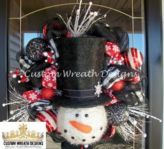 Red and Black Snowman Mesh Wreath by lilmaddydesigns on Etsy, $115.00