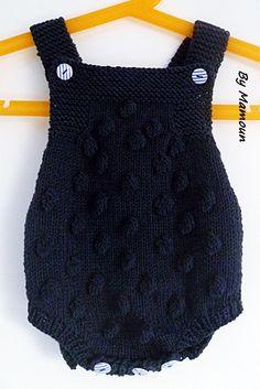 Barboteuse rétro vintage tricotée (0-3 mois) en coton doux bleu marine et ses grosses noppes : Mode Bébé par mamountricote