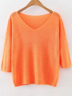 Pull tricoté à côte plain col V - orange