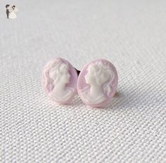 Lilac Cameo Hypoallergenic Surgical Steel Stud Earrings - Bridesmaid gifts (*Amazon Partner-Link)
