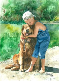 BOY GOLDEN RETRIEVER Kiss 11x15 Giclee by steinwatercolors on Etsy, $40.00