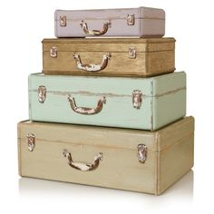 Wooden Suitcase Storage Boxes
