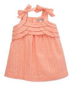 Take a look at this Petit Confection Orange Eyelet Tie-Strap Dress - Infant & Toddler today! Frock Design, Baby Dress Design, Baby Girl Dress Patterns, Little Girl Dresses, Girls Dresses, Kids Frocks Design, Baby Frocks Designs, Kids Dress Wear, Sleeves Designs For Dresses