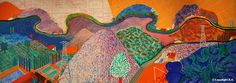 """David Hockney, """"Mulholland Drive: The Road to the Studio. LA Museum of art. Absolutely gorgeous example of landscape combined with textural mapping. So many possible lesson plans could be derived from this!"""