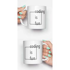 Coding Is Fun Funny Mug Gifts for Him Meme Mug Unique Mug Office Mug... ($14) ❤ liked on Polyvore featuring home, kitchen & dining, drinkware, drink & barware, home & living, mugs, silver and silver mug