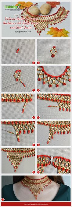 How to Make Delicate Beading Choker Necklace with Bulge Beads and Seed Beads from LC.Pandahall.com