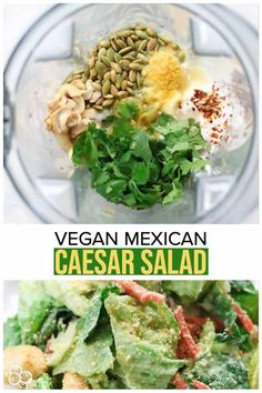 Knock-your-socks-off vegan caesar dressing with a Mexican twist! This easy recipe uses fire roasted chilis, nutritional yeast flakes, garlic, cashews, mayo, and pumpkin seeds in the perfect combination to wow your tastebuds. This is the best healthy dressing! No missing the dairy here!!! #mexican #veganrecipes