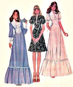1970s fashion -- Gunny Sax style dresses from McCall patterns