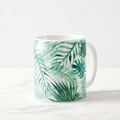 #Tropical Palm Tree Leaves Pattern Coffee Mug - #drinkware #cool #special