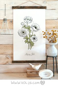 Vintage Inspired Science Posters  ANEMONE STUDY | vol25