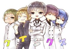 Haise and his Qs squad Tokyo Ghoul, Kaneki, Squad, Fan Art, Manga, Cute, Anime, Character, Manga Anime