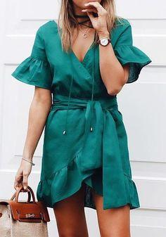 New Women Green Drawstring Irregular Ruffle V-neck Fashion Mini Dress