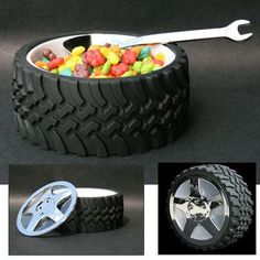 "Know a NASCAR fan or just a ""Car Guy""? Let the men be boys with this completely functional Tire Bowl. This bowl will be the centerpiece of your man's table! It is so realistic looking the boys will feel as though they are in the pits of the Indianapolis Speedway or just hanging out in the garage. ""The Chrome Hubcap Lid"" snap-locks on with a twist to keep everything from nuts to cereal fresh. It measures 6"" in diameter and 2 1/2"" deep with rubberized tread. Couldn't get closer than this t..."
