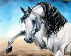Large Original Arabian Horse Art Oil Painting by EquineTreasures