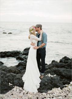 Wedding kisses on the beach #kiss #love #boho #chic  Photo by: Brandon Chesbro on Wedding Chicks