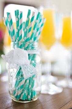 Tiffany Yellow Mint green beach wedding Palette,green dot wedding straws