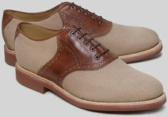Brooks Brothers Brown Canvas and Leather Saddle Shoes