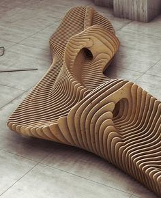 Oleg Soroko Parametric Bench he bench is an interior design concept made of sections of plywood bonded rods. Organic shapes provide an exceptional design, which invites you to sit down or just to look. Urban Furniture, Street Furniture, Cool Furniture, Furniture Design, Wooden Furniture, Concrete Furniture, Furniture Cleaning, Bench Furniture, Furniture Projects