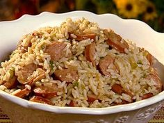maybe add more broth when making the rice.Dirty Rice with Smoked Sausage recipe from Patrick and Gina Neely via Food Network Smoked Sausage Recipes, Cajun Recipes, Rice Recipes, Pork Recipes, Cooking Recipes, Keilbasa Sausage Recipes, Kielbasa Recipes Rice, Eckrich Sausage, Smoker Cooking