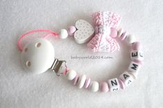 Dummy Chain With Name Crochet Loop Heart Gift Birth Baptism Baby for sale online Baby Kind, Baby Love, Crochet For Kids, Crochet Baby, Crochet Pacifier Holder, Dummy Clips, Baby Accessories, Future Baby, Baby Gifts