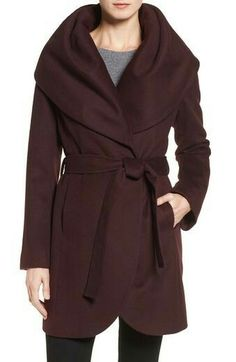 T Tahari Wool Blend Belted Wrap Coat available at Gorgeous collar, length and cut. Basic Outfits, Cool Outfits, Preppy Winter Outfits, Mode Mantel, Best Winter Coats, Wrap Coat, Winter Wear, Winter 2017, Fall 2016
