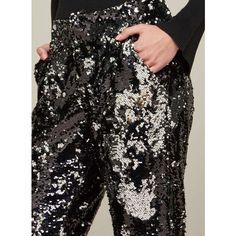 Miss Selfridge PREMIUM Black Sequin Trousers (245 BRL) ❤ liked on Polyvore featuring pants, black, sequined pants, slim fitted pants, slim fit trousers, miss selfridge and slim fit pants
