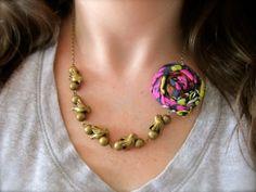 Bird On A Wire fabric flower necklace by HappyLittleLovelies #copper #bronze #fabricflower