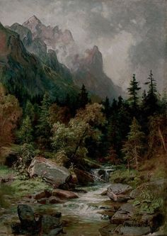 57 ideas landscape paintings mountain kevin oleary for 2019 Fantasy Landscape, Landscape Art, Landscape Paintings, Cool Landscapes, Beautiful Landscapes, Great Paintings, Romantic Paintings, River Painting, Scenery Pictures
