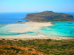 Balos Lagoon.  Near Chania, Crete.  To do!  Sand seams pink in areas b/c of so many little shells.  Go early.