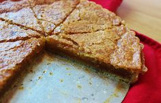 brown sugar chess tart;  filling is held together with just the smallest bit of cornmeal and an extra egg yolk, and made richer with the addition of brown sugar