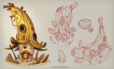 Building Games 147563325275275734 - Fantasy concept art and illustration from Charlène Le Scanff AKA Catell-Ruz! House Illustration, Illustrations, Digital Illustration, Art Environnemental, 2d Game Art, Cartoon House, Game Concept Art, Prop Design, Environment Design
