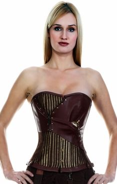 468 Brown and Gold Striped Steampunk Overbust Corset