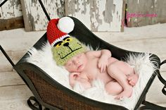 Christmas hat Green with Santa Hat Adorable by YarningToBe on Etsy