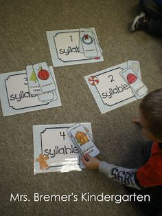 Gingerbread Man literacy center activities for Kindergarten. Includes practice with letter sounds, letter recognition, syllables, rhyming, and more! Kindergarten Centers, Kindergarten Activities, Syllables Kindergarten, Preschool Forms, Kindergarten Christmas, Christmas Math, Kindergarten Classroom, Christmas Time, Literacy Stations