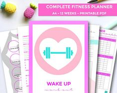 Fitness Planner, 12 Week Fitness Planner, Workout Planner, Macro Tracker 2019, Goal Setting, Weekly Planner, Habit Tracker, A4 Printable