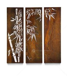 Home :: Outdoor Wall Sculpture :: Laser Cut Steel Wall Art  :: Triptych Wall Sculpture - Bamboo Triple Panel