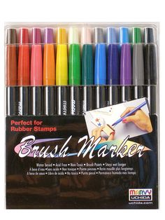 #scrapbooking - Touch up that scrapbook with these acid-free, odor-free, and non-toxic Brush Marker by Marvy Uchida.