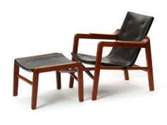The Fireside Chair With Ottoman By Edvard And Tove Kindt-Larsen | From a unique collection of antique and modern lounge chairs at http://www.1stdibs.com/furniture/seating/lounge-chairs/
