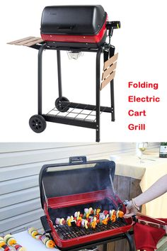 Americana Electric Cart Grill with two folding, composite-wood side tables and wire shelf Best Electric Grill, Outdoor Electric Grill, Solar Patio Lights, Patio Lighting, Patio Furniture Cushions, Patio Cushions, Patio Set With Umbrella, George Foreman Grill, Fire Pit Patio