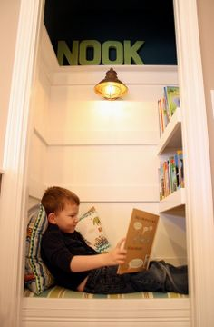Closet turned into reading nook.