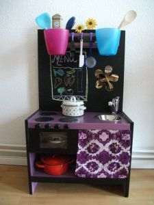 Kid Kitchen DIY.  Almost an Ikea Hack Kitchen by the products they used to build it.