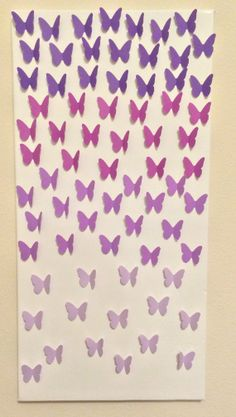 3D Ombre Purple Butterflies on White Canvas. by LarlenDesigns