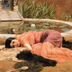 "230 Likes, 3 Comments - Daily Art H. (@daily.art.history) on Instagram: ""John William Godward, ""Dolce Far Niente""1904  #daily #art #history #painting #oilpainting…"""