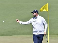 Marc Leishman after putting on the 2nd green during the first round of the Masters golf tournament at Augusta National.  Michael Madrid-USA TODAY Sports
