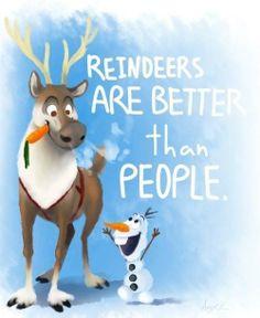 Reindeers are better than people! Disney Frozen Olaf and Sven #DisneyFrozen