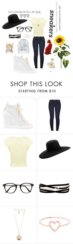 """""""Back2School: White Sneakers"""" by sarahluvv ❤ liked on Polyvore featuring Giuseppe Zanotti, Dorothy Perkins, Miss Selfridge, Maison Michel, Kenneth Jay Lane, Givenchy, Love Is, Accessorize, BackToSchool and contestentry"""